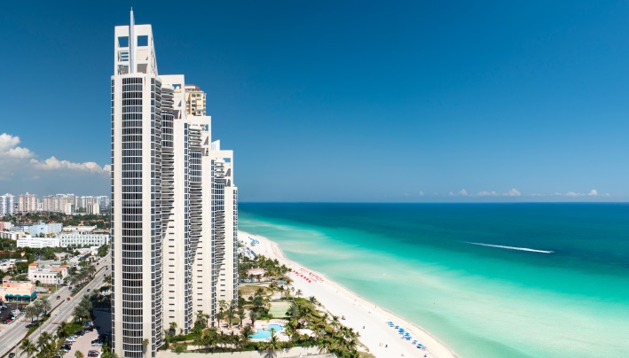 panoramic view of the skyline in Miami, Florida